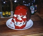 A plastic skull covered with Jello